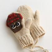 手工針織日系軟妹手套女冬可愛韓版卡通學生加絨保暖掛脖毛線手套 莫妮卡小屋