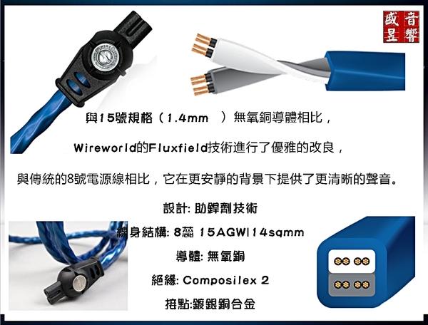 『盛昱音響』美國 WireWorld Mini-Stratus 迷你層雲 『1.5米』 廠製8字頭電源線