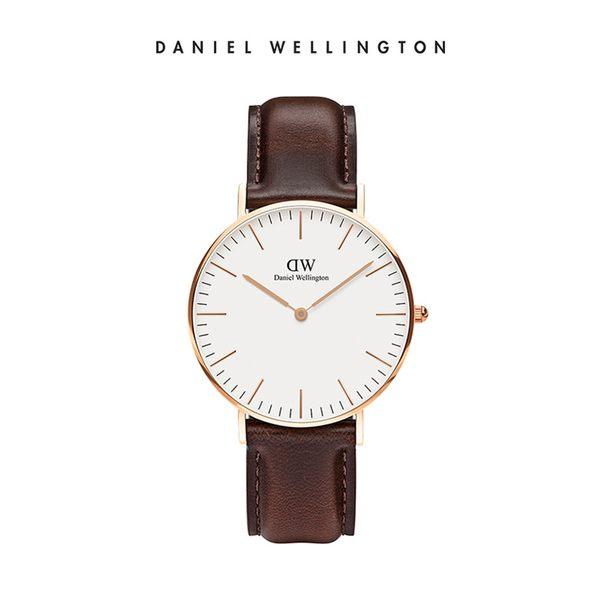 Daniel Wellington DW 手錶 36mm玫瑰金框 Classic 深棕真皮皮革錶