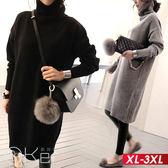 時尚高領針織套頭長袖洋裝 XL-3XL O-ker歐珂兒 15509