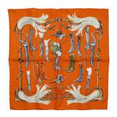 【奢華時尚】秒殺推薦!HERMES 長筒馬靴印花橘色絲質方形42公分絲巾(九八成新)#23406