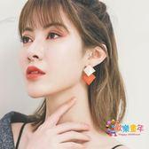 秋冬新款菱形耳環氣質韓國個性百搭簡約耳墜女耳釘網紅耳飾