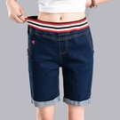 大尺碼五分褲 鬆緊腰牛仔短褲女2019新款五分褲寬鬆顯瘦大碼胖mm中褲高腰直筒褲