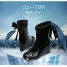 女士中筒防滑雨鞋高跟防水套鞋時尚坡跟膠鞋保暖水鞋雨靴女 瑪麗蓮安YXS