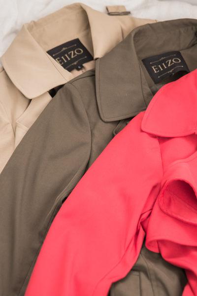 【EIIZO】英倫風挺版長版風衣外套(軍綠)