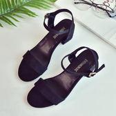 新款一字扣帶露趾涼鞋女夏中跟正韓時尚女鞋潮羅馬高跟女士鞋 聖誕節好康熱銷