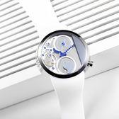 odm Swing 鞦韆系列透視風格手錶-銀x白/42mm DD137-04