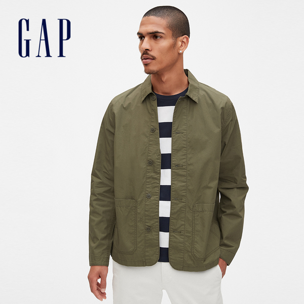 Gap男裝工裝風格口袋休閒外套567048-軍裝綠