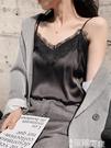 蕾絲打底衫 吊帶背心女外穿V領蕾絲無袖內搭打底衫黑色絲質綢緞性感潮上衣秋 智慧e家 新品