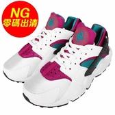 【US5-NG出清】Nike 武士鞋 Wmns Air Huarache Run 中底微黃 左鞋墊掉字 白 紫休閒鞋 女鞋 【PUMP306】