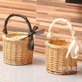 野餐籃迷你野餐籃柳編藤編織菜籃子手提包收納筐花籃手提籃拍照道具花籃XW(免運)