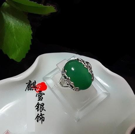 銀飾品手工 泰銀複古綠瑪瑙玉髓戒指女款食指禮物