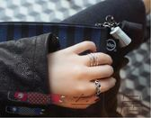 韓版風s925純銀泰銀戒指網格十字架復古開口可調節簡約潮人食指環