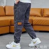 男孩褲子2020新款男童加絨牛仔褲春秋季中大童寬鬆長褲兒童工裝褲 小艾新品