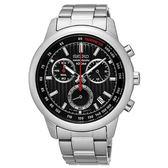 【均一價$6180】SEIKO 精工 帥氣三眼計時鋼帶錶-黑/43mm SSB205P1/8T68-00A0D 情人送禮