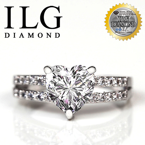 【ILG鑽】頂級八心八箭擬真鑽石戒指-傾心動人款 主鑽約1.5克拉 RI080 完美心型裸鑽造型