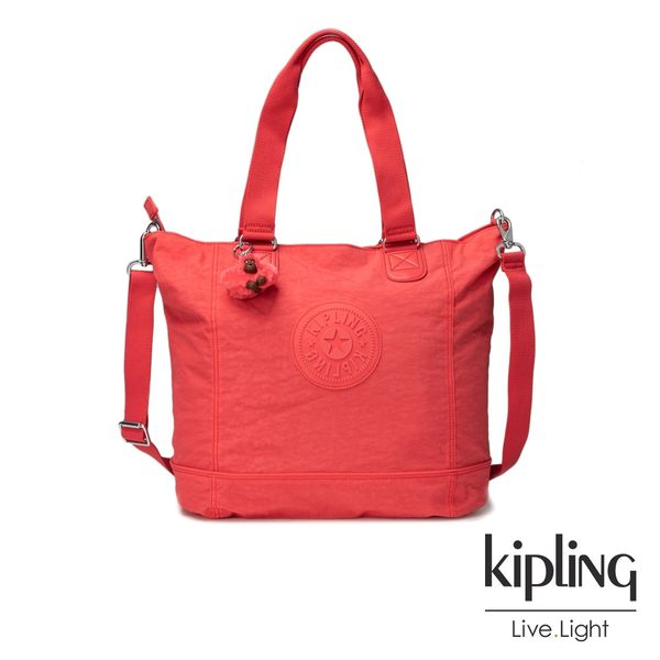 Kipling螢光澄素面手提包-SHOPPER