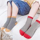 男童襪 女童襪 直條紋拼接坑條紋短襪 18617180