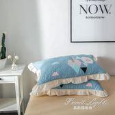 枕頭套 全棉加厚夾棉枕套 純棉枕頭套拉錬式枕皮花邊枕套一對(2只) 果果輕時尚
