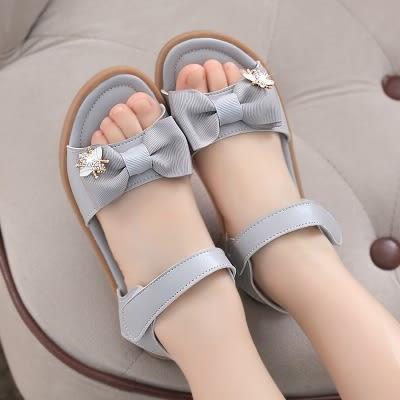 兒童涼鞋 女童涼鞋夏季中大童牛筋底軟底小女孩兒童正韓公主女童鞋鞋子【米拉公主】