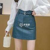 皮裙褲 復古港味皮裙半身裙春新款高腰a字短裙褲包臀顯瘦一步裙子