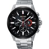 SEIKO 精工 Criteria 太陽能計時碼錶-黑x銀/42.8mm V175-0ER0R(SSC677P1)