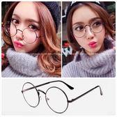 現貨-圓形復古眼鏡框架女款網紅潮韓版近視眼睛金屬平光鏡男眼鏡21