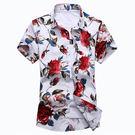 夏季潮男士短袖個性碎花襯衫加肥加大碼男裝玫瑰花印花襯衣中國風  巴黎街頭