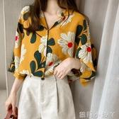 夏裝女裝 韓版新款學生時尚設計感防曬襯衣寬鬆大碼印花襯衫潮 蘿莉小腳丫