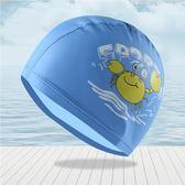 泳帽兒童泳帽pu防水卡通印花舒適不勒頭護耳游泳裝備男女童硅膠帽-美物居家館