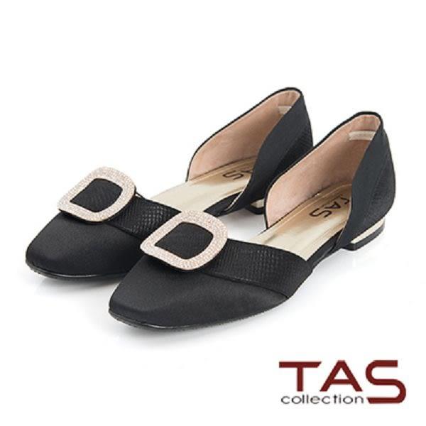 TAS金屬水鑽方型飾釦側鏤空低跟鞋-奢華黑