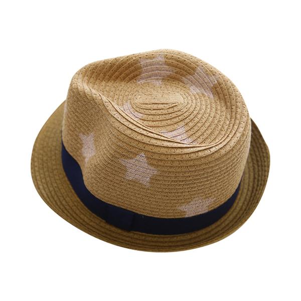 歐美兒童帽子 星星印花兒童草帽 寶寶遮陽帽 寶寶防曬帽 88280