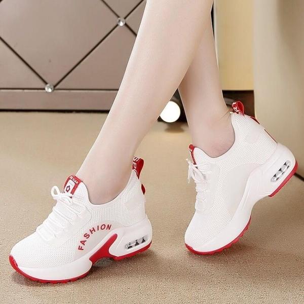 小白鞋女秋季2020網紅超火增高女鞋網面透氣顯瘦坡跟旅游鞋ins潮「時尚彩紅屋」