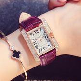 流行女錶 長方形手錶女錶皮質帶時尚潮流石英錶防水女士休閒腕錶  好康免運