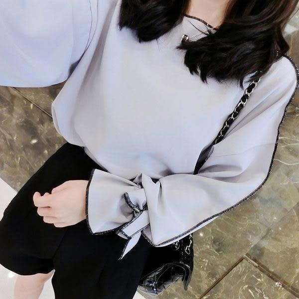 【TU03】秋款 韓國版蝴蝶結袖寬鬆雪紡上衣 休閒百搭襯衫