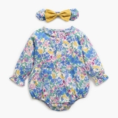 小碎花長袖三角包屁衣附髮帶 藍色 連身衣 嬰兒裝