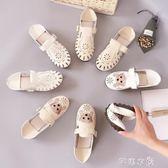 圓頭小白鞋春新款森繫休閒學生鞋平底兩穿娃娃豆豆鞋女單鞋夏      芊惠衣屋