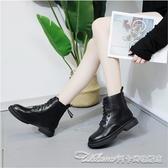 馬丁靴女潮ins英倫風新款秋冬季百搭加絨黑色網紅帥氣小短靴 阿卡娜