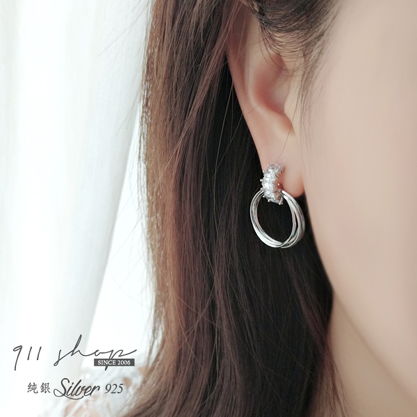 Favour.925純銀優雅排鑽多層圈圈穿針式耳環【sa039】911 SHOP