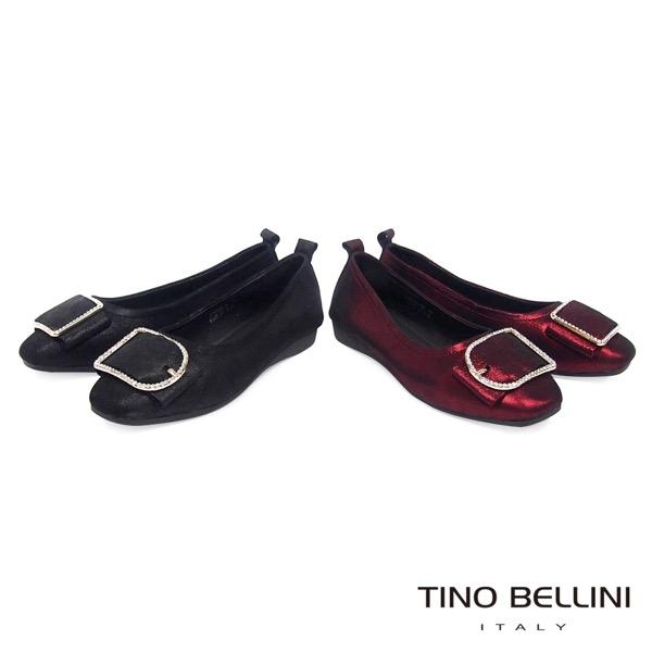 Tino Bellini緞面光感鑽飾全真皮平底娃娃鞋_紅 A79049