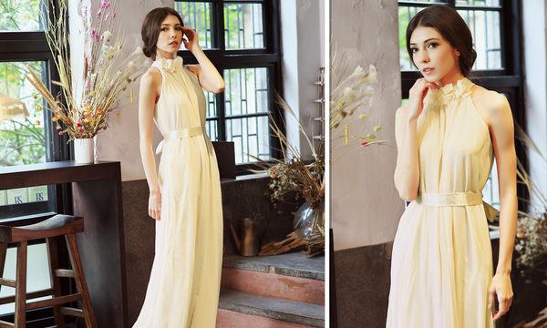 東京衣服 甜美花朵 領削肩顯瘦腰間蝴蝶結綁帶 雪紡洋裝長禮服 杏色