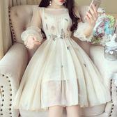 甜美仙女氣質立體花朵刺繡收腰燈籠袖小禮服蓬蓬網紗連身裙   居家物語