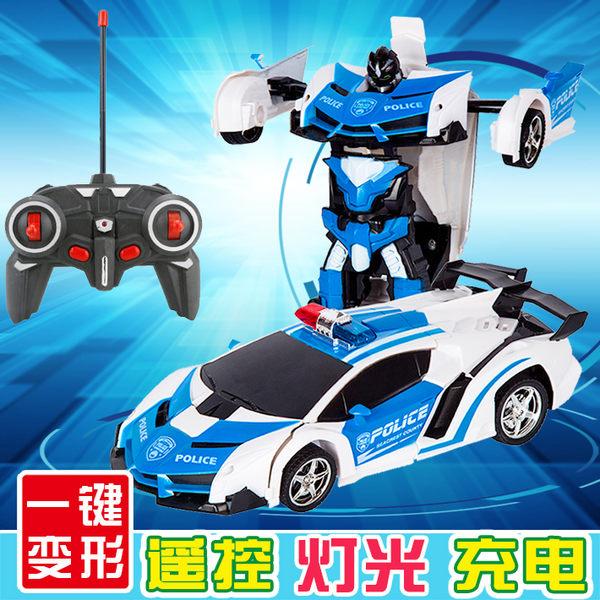無線遙控汽車賽車充電動警車迷你小型變形金剛機器人兒童男孩玩具WY