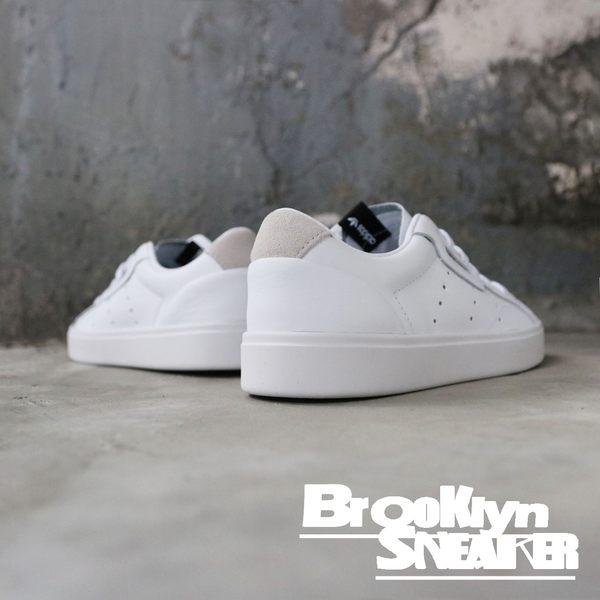 ADIDAS SLEEK 白 金色LOGO 皮革 休閒鞋 女 (布魯克林) 2019/3月 DB3258