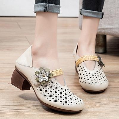 真皮手工女鞋 魔術貼鏤空休閒鞋 包頭粗跟鞋/2色-夢想家-標準碼-0409
