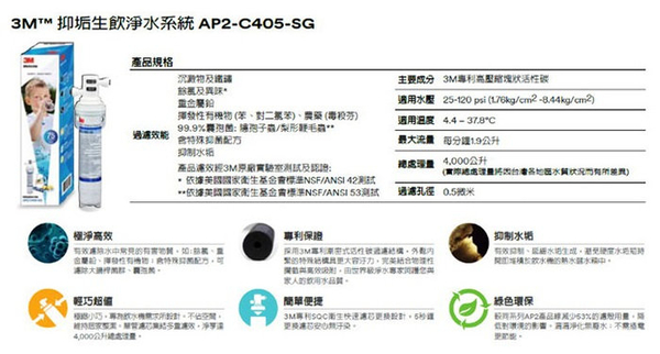 ★3M 抑垢生飲淨水系統替換濾芯AP2-C405-SG★HCD-2桌上型飲水機專用替換濾芯
