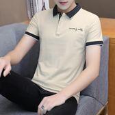 男士短袖t恤男翻領polo衫半袖潮流襯衫領上衣服韓版帶領體恤 黛尼時尚精品