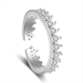 新品鑲鑽羅馬皇冠戒指 開口韓版時尚鍍銀指環女手飾品《小師妹》ps473