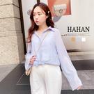 【HA6280】微透視寬袖 雪紡襯衫/罩衫