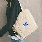 韓版潮簡約手提斜斜背包百搭布袋包文藝帆布側背大包 黛尼時尚精品